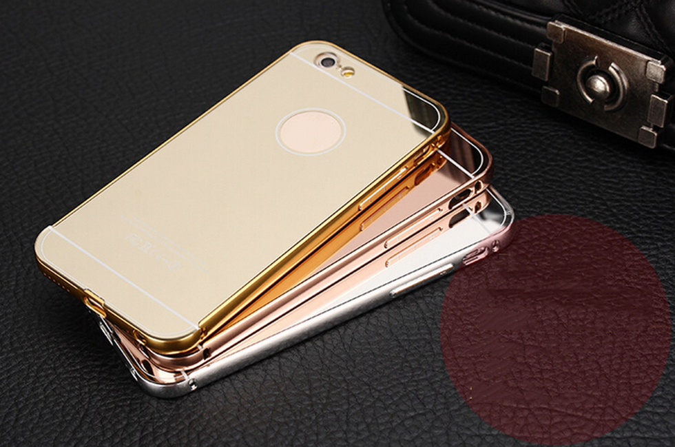 Cell phone accessories manufacturer metal mirror protective case for iphone5/6/6plus cover for samsung s7 edge