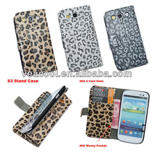 Leopard Design Book Wallet Leather Case Cover Pouch for Samsung Galaxy S3 i9300 case