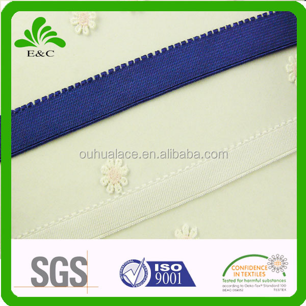 Custom shiny edge elastic webbing,plush back elastic