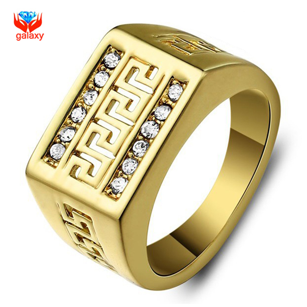GALAXY Brand Classic Wedding Rings For Men Fashion Jewelry Real 24K Gold Filled Rhinestone CZ Diamond Men Engagement Ring YH197