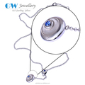 Hot sale Jewellery Minimal European Fashion Silver Necklace with Blue stone 2016 graduation Season style XLY012