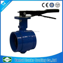DN150 malleable iron handle viton seat shouldered end butterfly valve