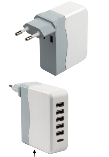 5V/6.8A 5USB European Charger