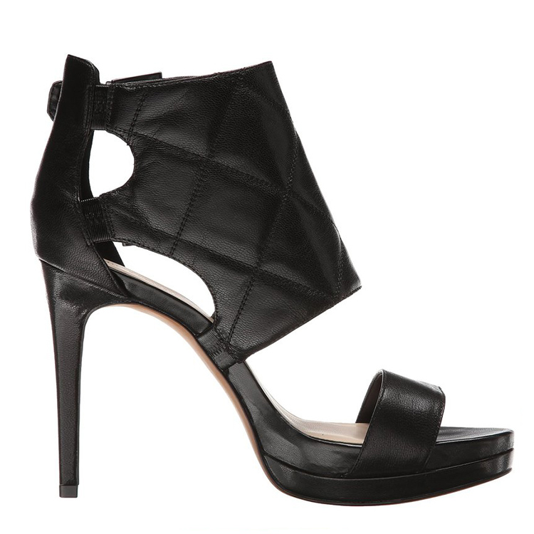 W098 New design black leather high heel lady sandal shoes