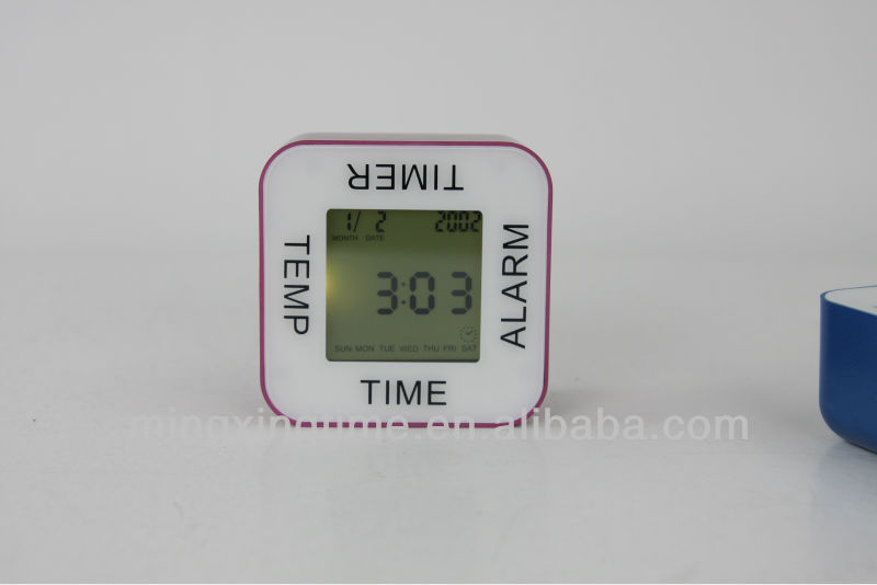 four side clock mini desk alarm clock