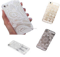 Hot Henna White Floral Flower Plastic Cases Cover Skin for iPhone 5 5S 6S