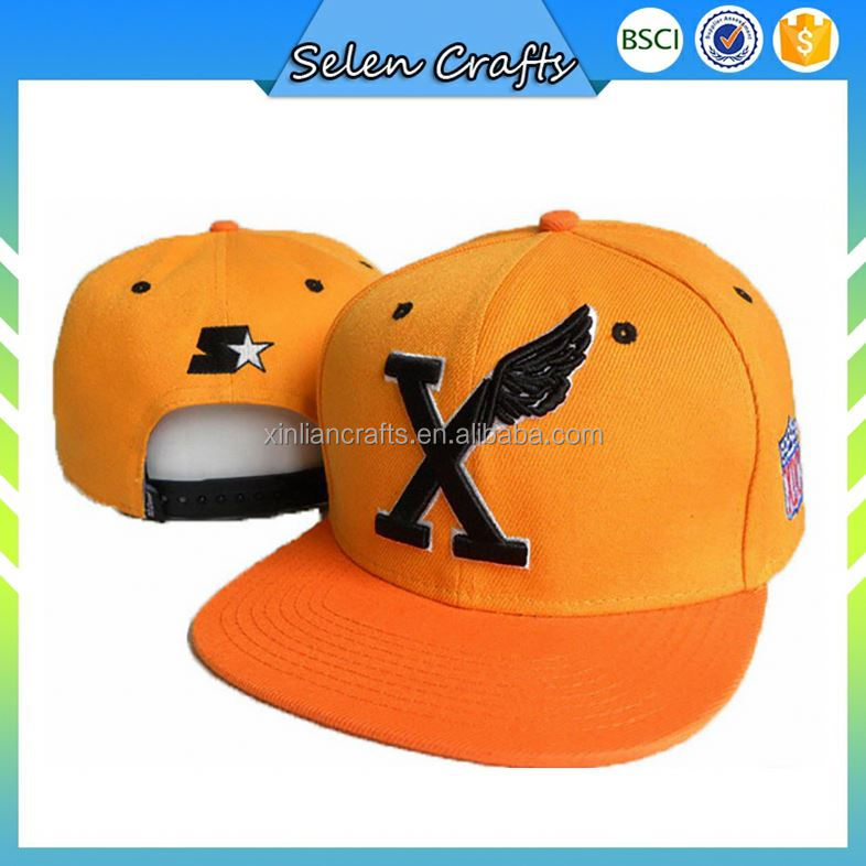 Embroidery Fabric With Holes Orange Sport Snapback Cap Promotion Snapback Cap Custom Snapback Caps