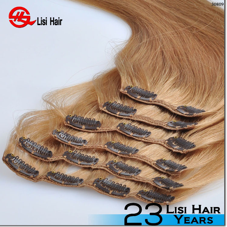 Best Selling Good Feedback Top Grade Give Fullness Full Head High Quality Double Wefted 26 inch human hair remy clip in hair ext