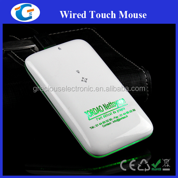 Slim wired touch mouse with custom led logo