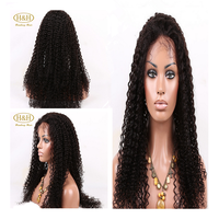 Fashion high quality 130% density thick pineapple wave natural color brazilian hair lace front wig
