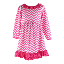 2015 new design hot pink chevron fashion baby dress children long sleeve dresses boutique children clothes new model girl dress