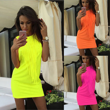 Colorful Tassels Slim Sleeveless Dresses
