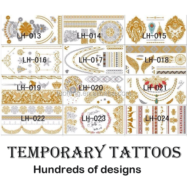 OEM custom metallic temporary tattoo, glitter tattoo