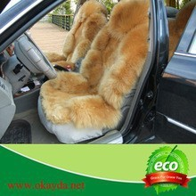colorful car seat cover in leather with sheepskin lamb fur