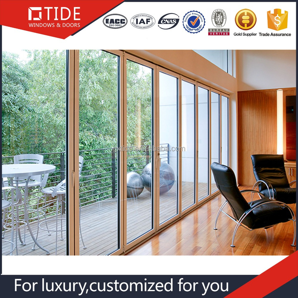 Chinese hot Double glazed glass wall/aluminum frame folding door