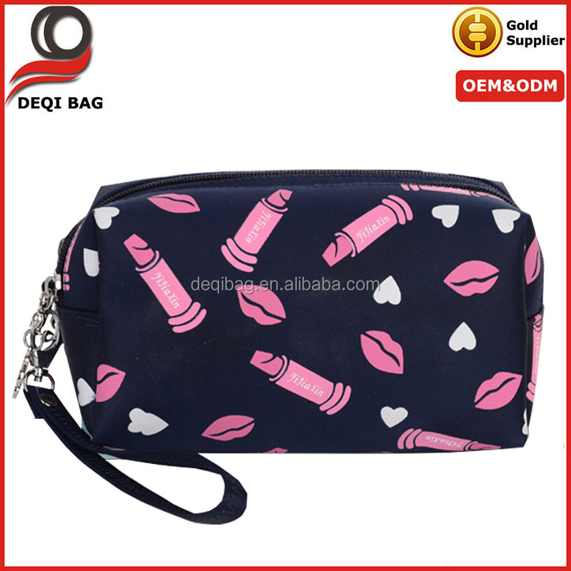 Double Zipper Customized Fashion Satin Cosmetic Bag Makeup Bag
