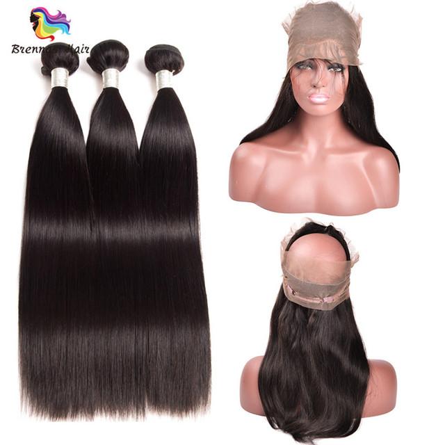 Mink Straight Human Hair Bundles with 360 Closure Natural Black 1B