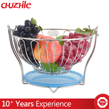 metal hanging fruit basket holder , metal wire mesh stacking basket