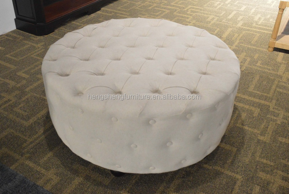 Elegant round footstool,wooden round bar stool,fabric ottoman