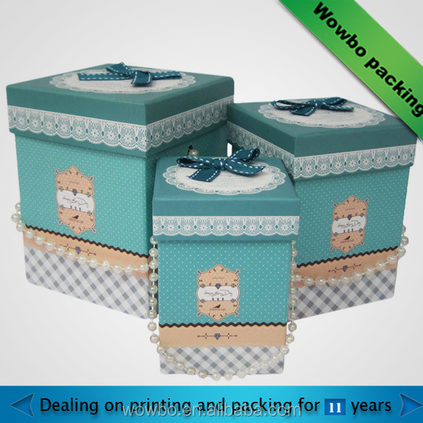 ODM custom printing luxury wrapping paper gift/storage box with lace design and pearl