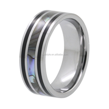 8mm new style men's tungsten carbide ring with abalone shell and black resin inlay