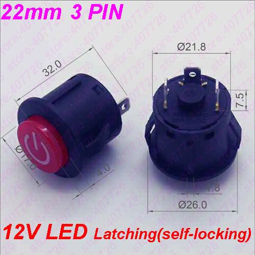 HTB1LTk0b3jN8KJjSZFkq6yboXXaM - 1PC 22MM Power 3PIN Latching/Self locking Glowing Red Plastic Push Button Switch With LED 12V Panel Indication