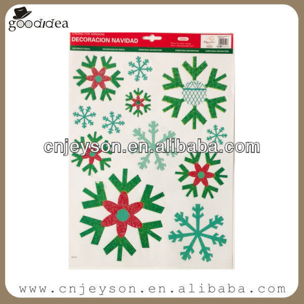 ST015 glitter snowflake christmas window sticker/static clings