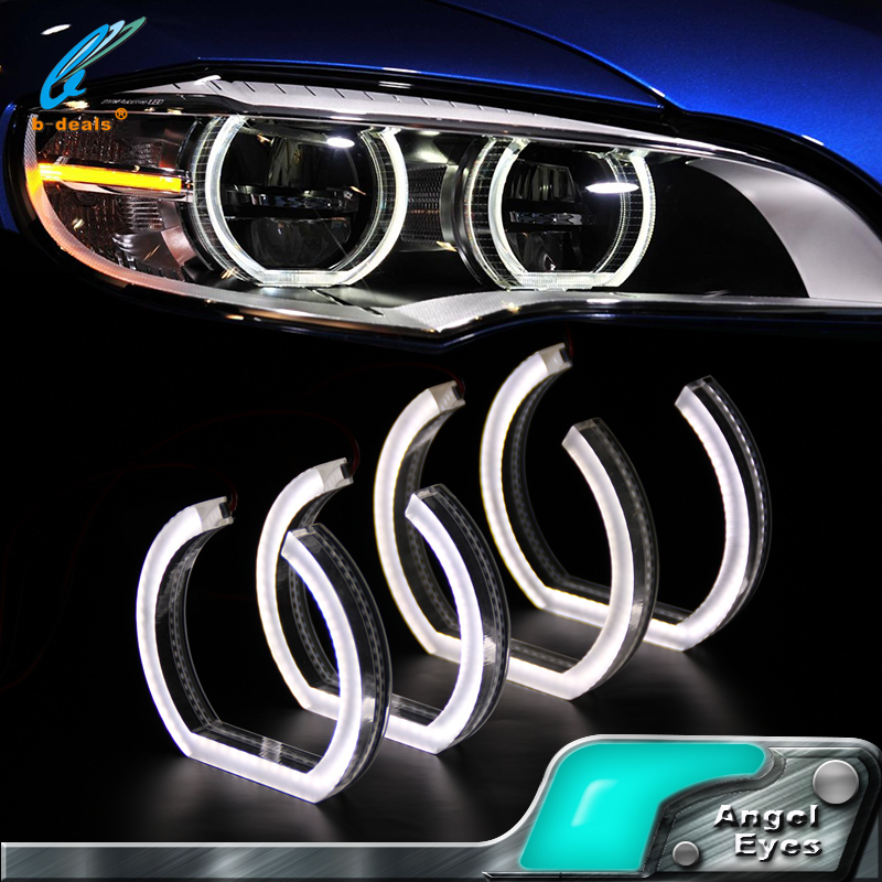 White DTM Style Square LED Angel Eye Lighting Kit For BMW F30 3 Series Halogen Headlights
