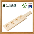 FSC handmade cheap natural color 4 shots wooden beer paddle