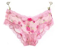 PINK FLOWER PRINTED LACE WOMENS PANTIES FOR MEN SEX NIGHT TRANSPARENT BRIEF WOMENS PANTIES FOR MEN PRETTY GOOD WEAR