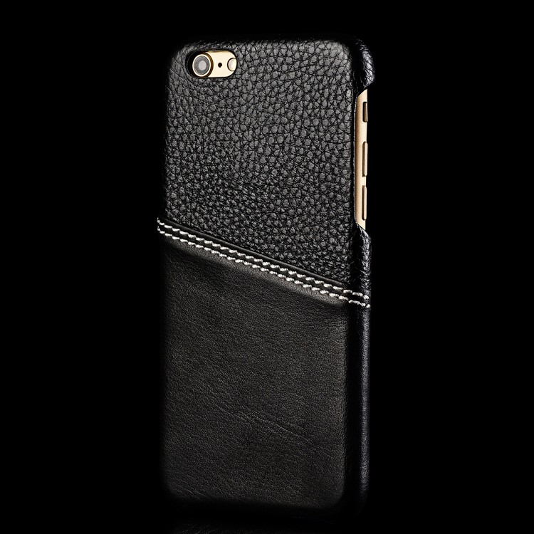 genuine black leather case for iphone 6 7 with card holder