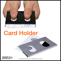 double sided two tone stainless steel business card holder