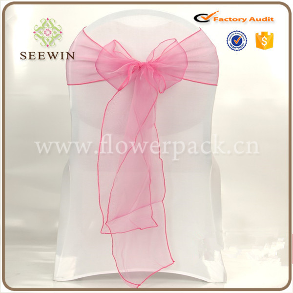 Cheap wedding banquet organza sashes chair cover