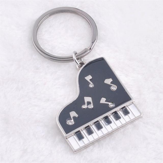 piano shape keychain metal key rings gift