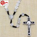 Huanan new product European popular 6mm metal prayer beads silver crucifix rosary