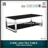 tempered glass dinning table in stainless steel legs