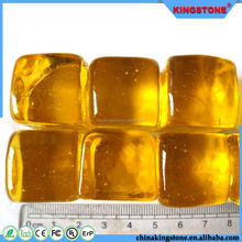 Cheapest price decorative glass pebble for decoration,patio pink pebble stone,wholesale square transparent yellow glass pebble