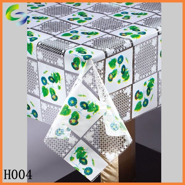 Plastic PVC Table Tablecloth Cover Sheet with Green Leaves