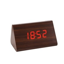 ZOGIFT Hot sales table LED Triangle wood clock with USB