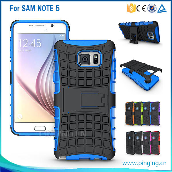 Shockproof tyre back cover case for samsung galaxy note 5 kickstand case