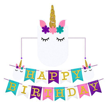Glitter felt Unicorn Happy Birthday Banner Pennant Party Decorations Supplies