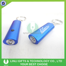 Mini Blue Metal One Light Flash Torch Key Chain with Laser Engraved Logo