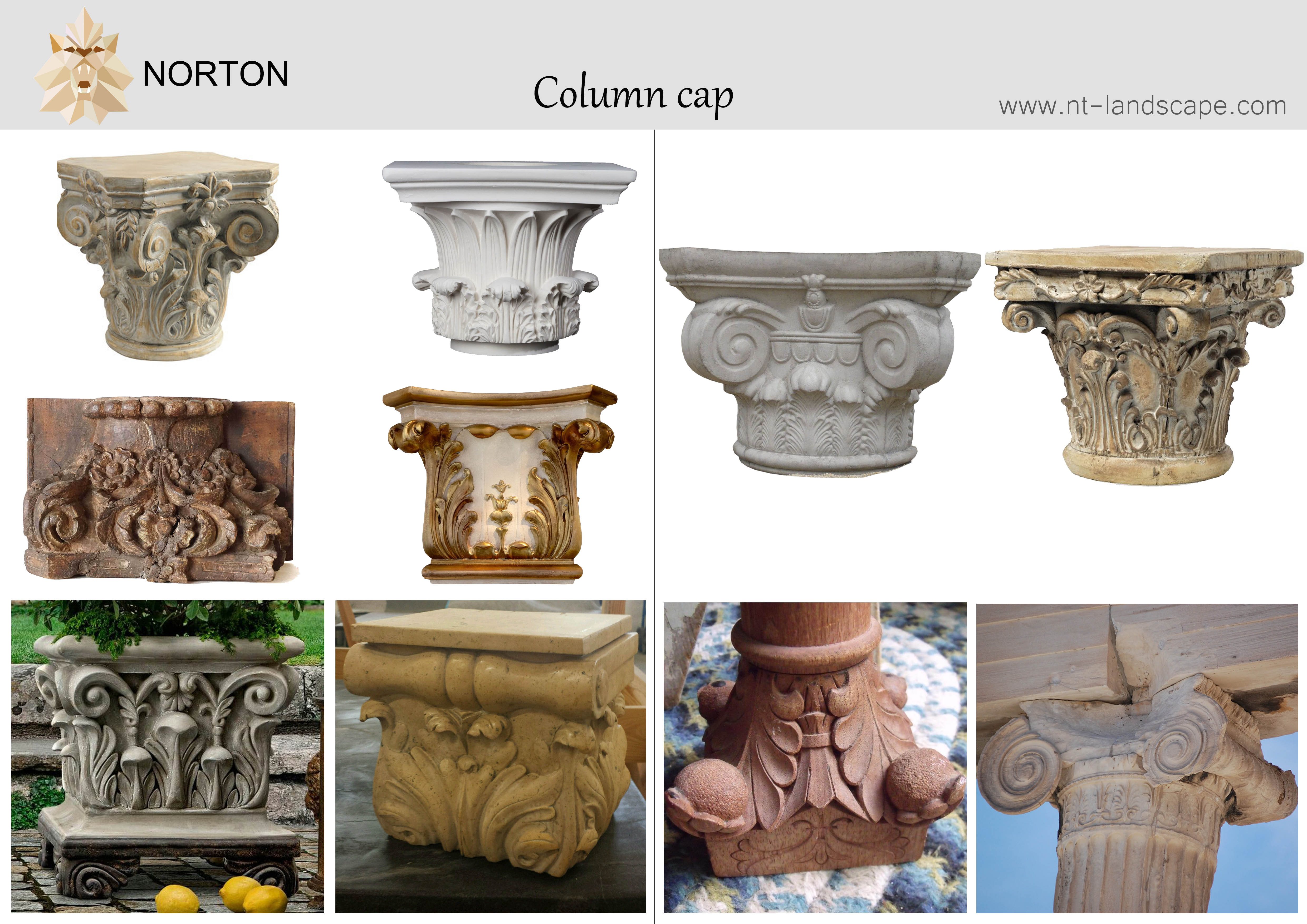 Modern home decoration use red marble gate pillar capital design stone column head for garden NTMF-CP089X