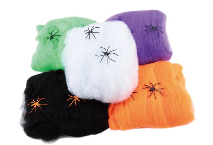 DJ-009 Yiwu Caddy Halloween Decoration spiders Multicolor cotton with Spider Web With Spiders