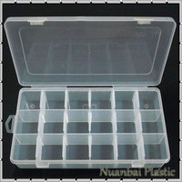 18 Compartment Clear Plastic Removable grids box Rectangular Electronic Components Box Organizer Bin Storage Box