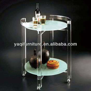Transparent Acrylic Support Double-deck Wheels table