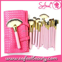 Sofeel high quality 18pcs private lable makeup brush with pouch for girl