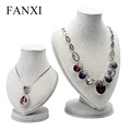 FANXI elegant heart shape creamy white color linen jewelry mannequin jewelry bust for showcase necklace busts