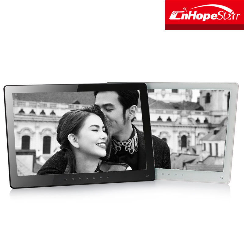 Black/White mp3 mp4 playback 15.6 inch led digital photo frame