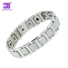 2016 New product can add 3000 gauss 5 in1 silver magnetic bracelet